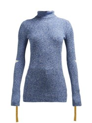 2 Moncler 1952 Roll Neck Cotton Blend Sweater Blue Multi