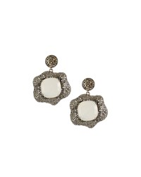 Bavna Moonstone Floral Drop Earrings