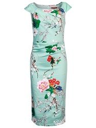 Jolie Moi Retro Floral Print Wiggle Dress Aqua