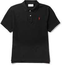 Ami Alexandre Mattiussi Slim Fit Cotton Pique Polo Shirt Black