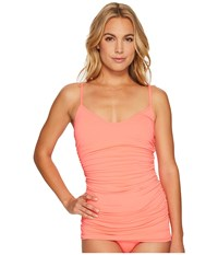 Vince Camuto Fiji Solids Shirred Swimdress One Piece Pop Coral Women's Swimsuits One Piece Orange