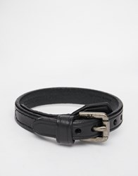 Polo Ralph Lauren Buckle Leather Bracelet Black