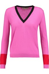 Emilio Pucci Color Block Wool Sweater Pink