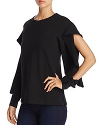 Vince Camuto Ruffle Split Sleeve French Terry Sweatshirt Rich Black
