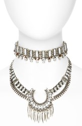 Baublebar Women's Pandora Choker Bib Necklace Antique Silver