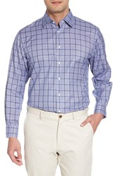 Nordstrom 'S Big And Tall Men's Shop Traditional Fit Check Dress Shirt Blue Surf