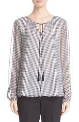 St. John Women's Collection Gingham Print Silk Georgette Blouse