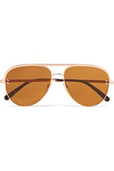 Stella Mccartney Aviator Style Rose Gold Tone And Acetate Sunglasses Pink