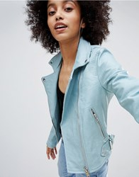 Bershka Leather Look Biker Jacket Light Blue