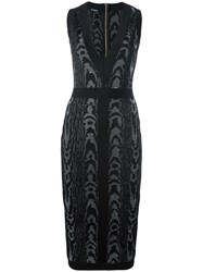 Balmain Leopard Pattern Midi Dress Black