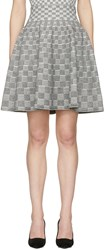 Alexander Mcqueen Black And Ivory Jacquard Check Volume Miniskirt