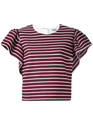 Msgm Ruffled Sleeve Striped Blouse Women Cotton Polyester Spandex Elastane Polyimide 46 Red