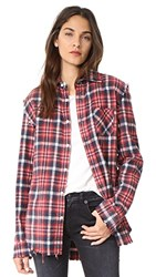 R 13 R13 Shredded Seam Shirt Red Plaid