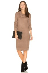 Bobi Cashmere Cowl Neck Sweater Dress Brown