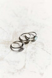 Urban Outfitters Gemstone Ring Pack Silver