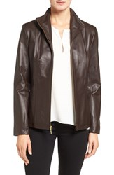 Cole Haan Women's Wing Collar Lambskin Leather Jacket Dark Espresso