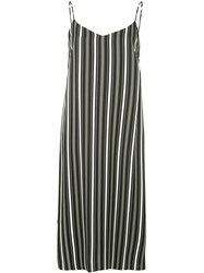 Guild Prime Striped Midi Slip Dress Black