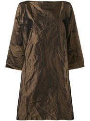 Daniela Gregis Wrinkled Effect Dress Brown