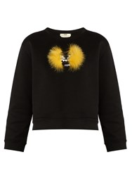 Fendi Bag Bugs Fur Applique Cotton Blend Sweatshirt Black Multi