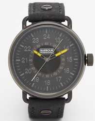 Barbour International Black Leather Strap Watch