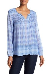 Casual Studio Split Neck Pleated Blouse Blue
