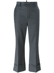 Dsquared2 Cropped Tailored Flare Trousers Grey