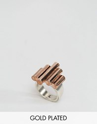 Low Luv X Erin Wasson Rose Gold Plated Chunky Bar Ring Rose Gold Silver