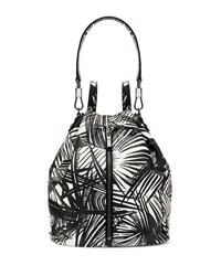 Cynnie Palm Printed Drawstring Backpack White Black Elizabeth And James