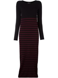 Twin Set Striped Fitted Long Dress Red