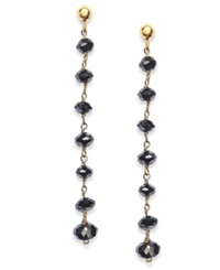 Macy's Black Diamond Dangle Drop Earrings In 14K Gold 4 Ct. T.W.