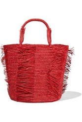 Sensi Studio Woman Caramelo Fringed Woven Straw Tote Red