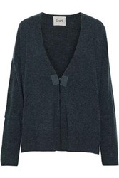 Charli Woman Bow Detailed Wool And Cashmere Blend Cardigan Petrol