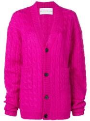 Matthew Adams Dolan Loose Fit Knitted Cardigan Pink And Purple