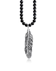 Thomas Sabo Men's Necklaces Rebel Icons Black Beads And Sterling Silver Feather Pendant Necklace