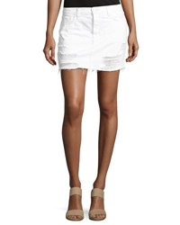 J Brand Bonny Mid Rise Cotton Mini Skirt Distract White
