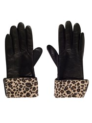 Chesca Leather Glove With Leopard Cuff S Black