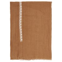 French Connection Dream Embroidered Wool Scarf Terra Tan Cream