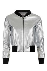 Wal G Metallic Bomber Jacket By Silver