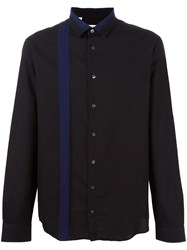 Msgm Contrast Stripe Button Down Shirt Black