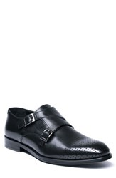 Jared Lang Double Buckle Monk Shoe Black Leather