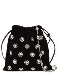 Miu Miu Starlight Embellished Velvet Clutch Black