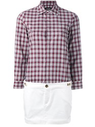 Dsquared2 Checked Shirt Dress Burgundy