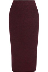 Maje Ribbed Knit Midi Skirt Burgundy