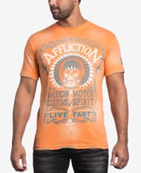 Affliction Men's Graphic Print T Shirt Orange Bleach Brush Wash