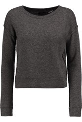 Alice Olivia Cropped Wool And Cashmere Blend Sweater Charcoal