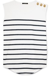 Balmain Button Embellished Striped Cotton Jersey Top White