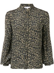 Lily And Lionel Leopard Maddox Blouse Green