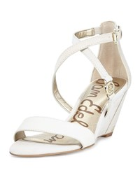 Sam Edelman Scott Snake Embossed Wedge Sandal Modern Ivory