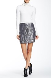 Romeo And Juliet Couture Allover Sequin Mini Skirt Gray