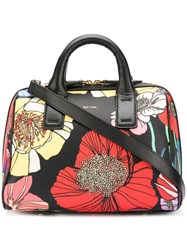 Paul Smith Floral Print Tote Women Calf Leather One Size Black